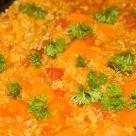 Ryż zapiekany z mielonym, dynią, pomidorami i soczewicą